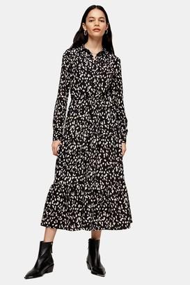 Topshop Black And White Tiered Midi Shirt Dress