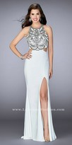 La Femme Bead Embellished Racer Cutout Column Prom Dress