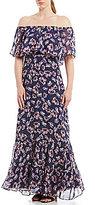 Donna Morgan Off-the-Shoulder Ruffle Hem Maxi Dress