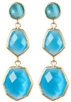 Rivka Friedman 18K Gold Clad Triple Dangle Deco Design Faceted Aqua Chalcedony Crystal Earrings