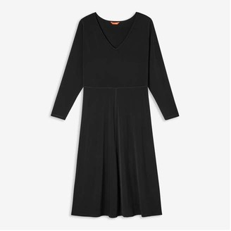 Joe Fresh Women+ V-neck Midi Dress, JF Black (Size 2X)
