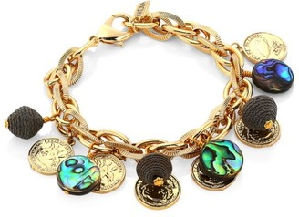 Akola 10K Yellow Goldplated, Abalone & Raffia Chain Link Bracelet