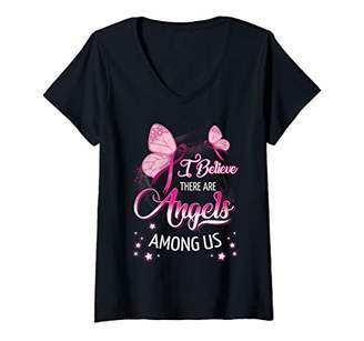 Womens I Believe There Are Angels Among Us Butterfly T-Shirt V-Neck T-Shirt