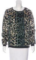 Maison Scotch Leopard Print Faux-Fur Sweater
