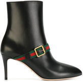 Gucci web-trimmed ankle boots - women - Leather - 37