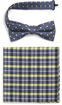 Nordstrom 'Neo' Dot Silk Bow Tie & Plaid Silk Pocket Square