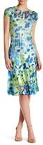 Komarov Printed Keyhole Short Sleeve Dress (Petite)