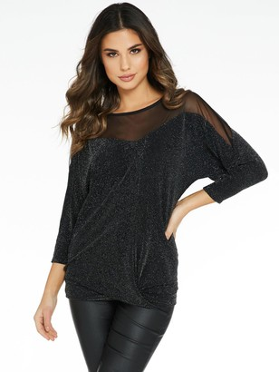 Quiz Brillo Sweetheart Knit Bottom Mesh Insert Batwing Top - Black