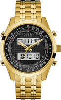 GUESS Men's Analog-Digital Gold-Tone Stainless Steel Bracelet Watch 45mm U0859G1