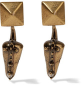 Valentino Hammered Gold-Plated Earrings