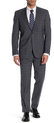Hart Schaffner Marx Grey Blue Plaid Two Button Notch Lapel New York Fit Suit