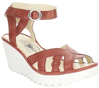 Fly London Women's Sandals 010 - Raspberry Ankle-Strap Wedge Yrat Leather Sandal - Women
