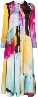 Marques Almeida Amalgam-print long-sleeve dress