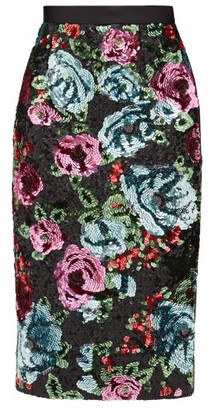 Erdem Dencia Sequinned-florals Satin Skirt - Pink Multi