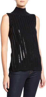 Neiman Marcus Sequin Stripe Sleeveless Cashmere Turtleneck Sweater