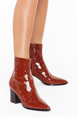 Nasty Gal Womens You Can't Croc Me Patent Faux Leather Boots - Brown - 3