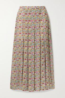 Rixo Georgia Pleated Floral-print Cotton And Silk-blend Midi Skirt - Light green