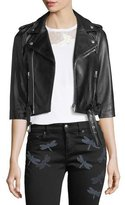 RED Valentino 3/4-Sleeve Dragonfly Leather Moto Jacket