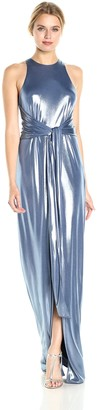 Halston Women's Sleeveless High Neck Metallic Jersey Gown with Sash