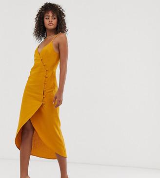 Asos Tall ASOS DESIGN Tall cami wrap maxi dress with button detail