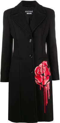 Boutique Moschino Single-Breasted Floral-Print Coat