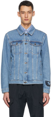 MSGM Blue Denim Embroidered Logo Jacket