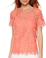 Liz Claiborne Short-Sleeve Lace T-Shirt