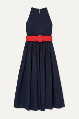 J.Crew Corinna Belted Cotton-poplin Midi Dress - Navy
