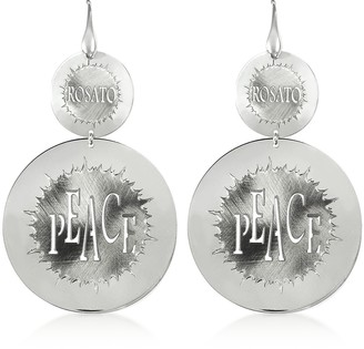 Rosato Sterling Silver Peace Cut-Out Large Round Earrings