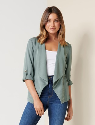 Forever New Nicole Waterfall Jacket - Soft Palm - 10