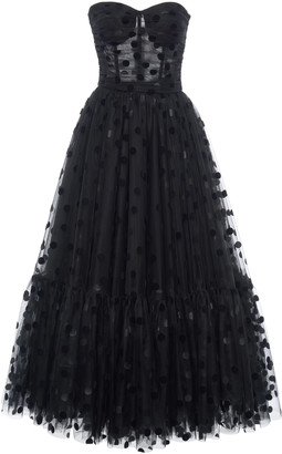 Dolce & Gabbana Flocked Polka-Dot Tulle Strapless Cocktail Dress