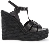 Saint Laurent Tribute 125 black leather wedge sandals