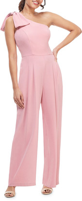 Gal Meets Glam One-Shoulder Sleeveless Crepe Jumpsuit w/ Bow Detail