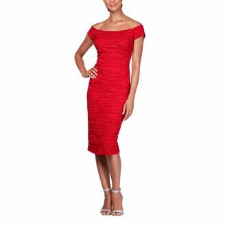 Alex Evenings Women's Midi Off-The-Shoulder Stretch Taffeta Sheath Dress