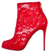 Dolce & Gabbana Lace Peep-Toe Ankle Boots w/ Tags