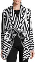 Raga Tribal-Print Open-Front Cardigan, Black