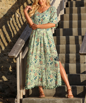 Ananda's Collection Women's Casual Dresses sage - Sage Floral Pom-Pom Hem Maxi Dress - Women
