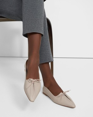 Theory Pleated Ballet Flat in Leather