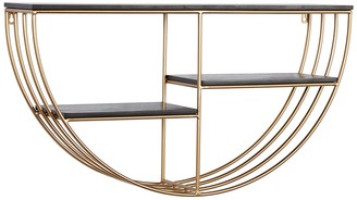 """Willow Row Black And Gold Metal And Wood Wall Shelf - 28"""" X 15.5"""""""