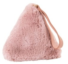 Area Stars Faux Fur Bag with Wrist Strap in Triangle Shape