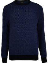 River Island MensDark blue textured knit sweater