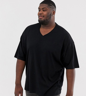 Asos DESIGN Plus oversized t-shirt with v neck and seam detail in black
