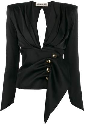 Nineminutes fitted-waist long sleeve blouse