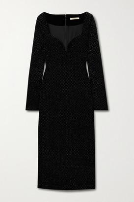 Christopher Kane Glittered Velvet Midi Dress - Black