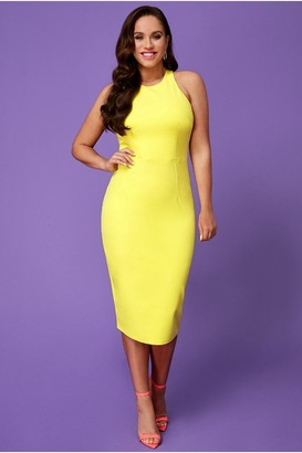 Goddiva Vicky Pattison Lemon Bow Back Midi Dress