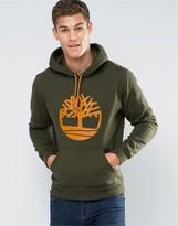 Timberland Overhood Logo Hoodie In Green