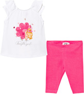 Mayoral White Flower Girl Print and Applique Tee and Leggings Set