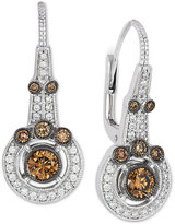 LeVian Le Vian Chocolatier® Chocolate Deco EstateTM Vanilla and Chocolate Diamond Earrings (1 ct. t.w.) in 14k White Gold