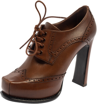 Louis Vuitton Brown Leather Oxford Platform Brogue Leather Booties Size 37