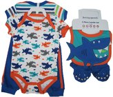 Buster Brown Baby Boys Blue Shark Print Pants Bib Booties Onesie Set 6-9M